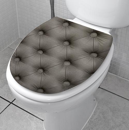Abattant de WC décoré avec un sticker adhésif WSH modèle capiton gris