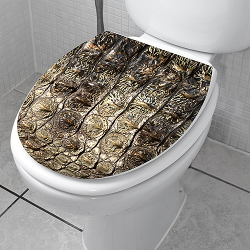 Peau de crocodile motif verticale collé sur une cuvette de toilette