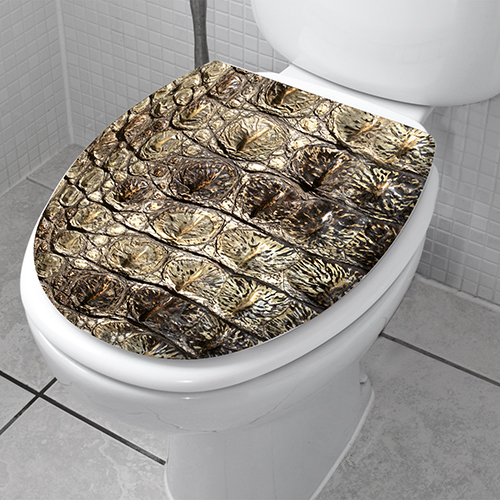 Décoration croco horizontal autocollante collé sur des WC