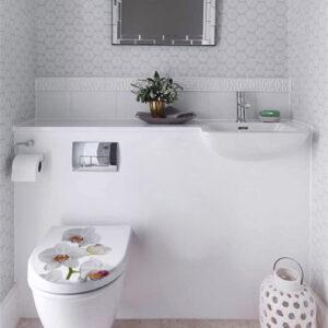 Sticker adhésif Orchidée pour décorer collé sur des toilettes blancs