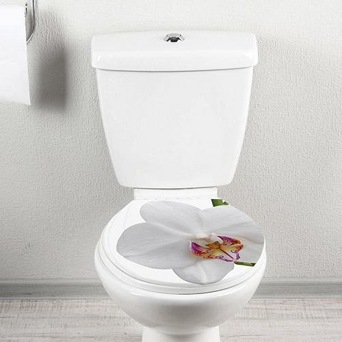 Cuvette de WC ornée d'un motif sticker autocollant Orchidée