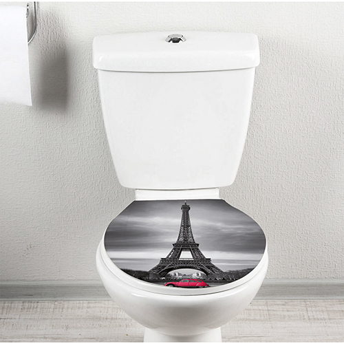 2 cv rose devant la tour eiffel sticker collé sur le siège des toilettes