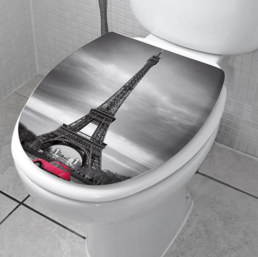 Paris mis en sticker collé sur des abattants de WC