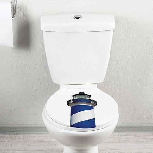 Sticker adhésif déco pour salle de bain Phare sur des WC