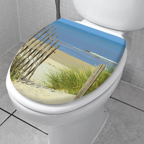 Sticker siège de toilette Plage du Nord décoratif adhésif