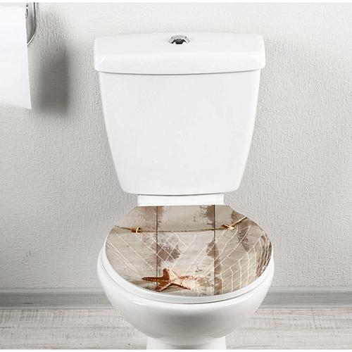 Sticker autocollant pour toilettes motif filet de peche collé sur l'abattant