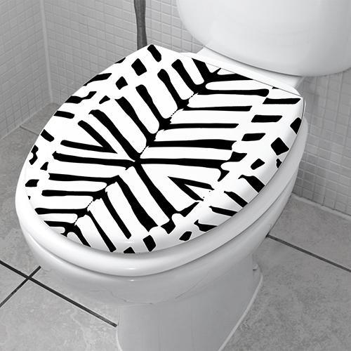 Sticker autocollant adhésif décoratif modèle ZEBRA collé sur l'abattant des WC