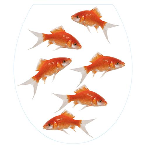 Sticker déco adhésif Poisson Rouge pour siège de WC
