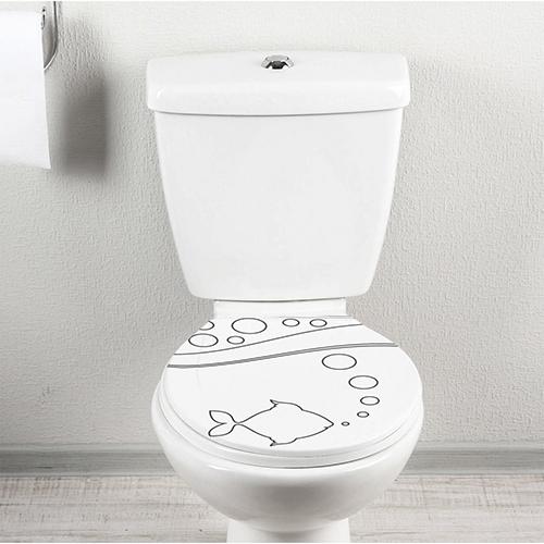 Sticker Poisson adhésif collé sur le siège des toilettes