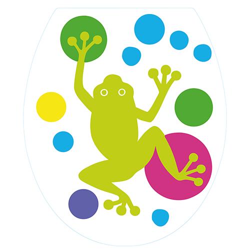 Sticker autocollant adhésif pour toilettes Grenouilles vertes