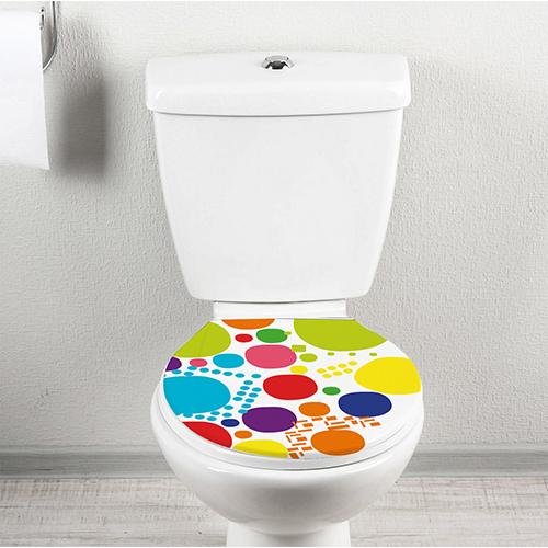 Abattant de WC décoré avec un sticker multicolore modèle POP