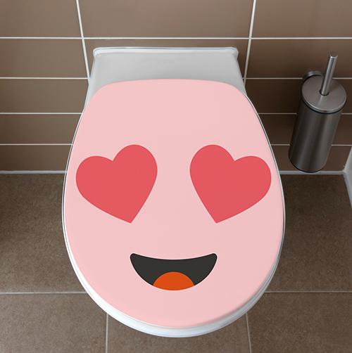 Toilettes complètement amoureux décorés du sticker adhésif Smiley amoureux rose