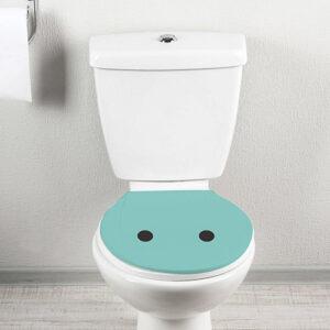 Sticker déco pour WC Smiley surpris turquoise collé sur un WC