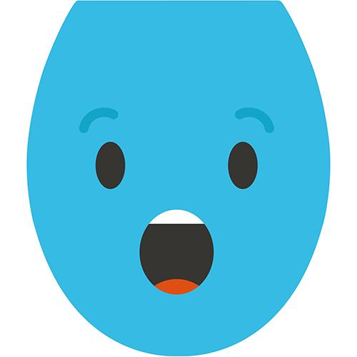 Autocollant adhésif de la gamme Smiley : Smiley étonné bleu