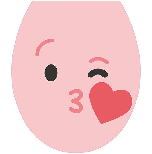 Sticker autocollant de la gamme Smiley : Smiley bisous rose