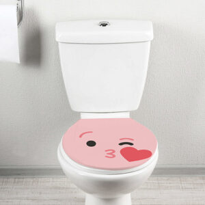 WC classique de face orné d'un Sticker déco Smiley bisous Rose