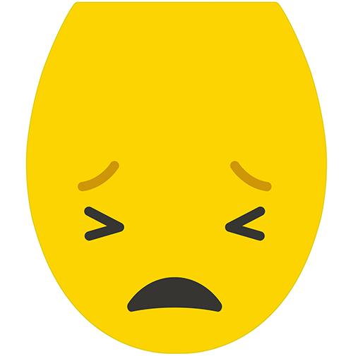 Sticker décoratif de la gamme Smiley le Smiley pas content jaune pour WC