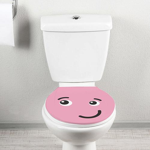 Toilette décoré d'un sticker WSH Smiley Taquin Rose vue de face