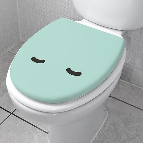 Décoration autocollante pour WC Smiley Endormi Turquoise vue de 3/4