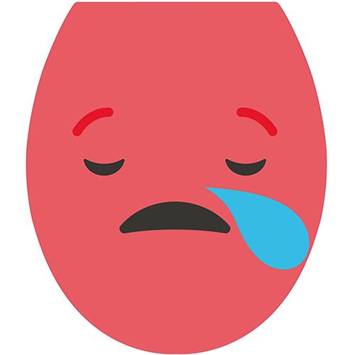 Sticker décoratif pour abattant de WC gamme Smiley : Smiley triste rouge