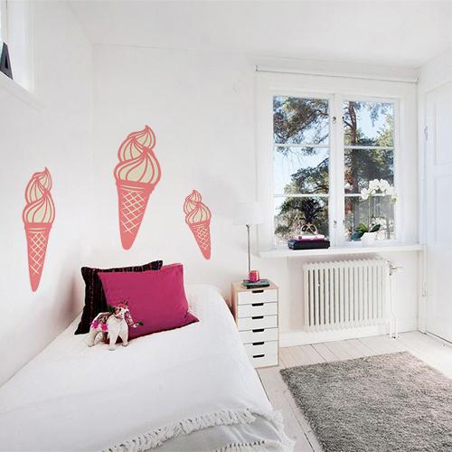Adhésif glace italienne en cornet rose sticker pour chambre d'ado