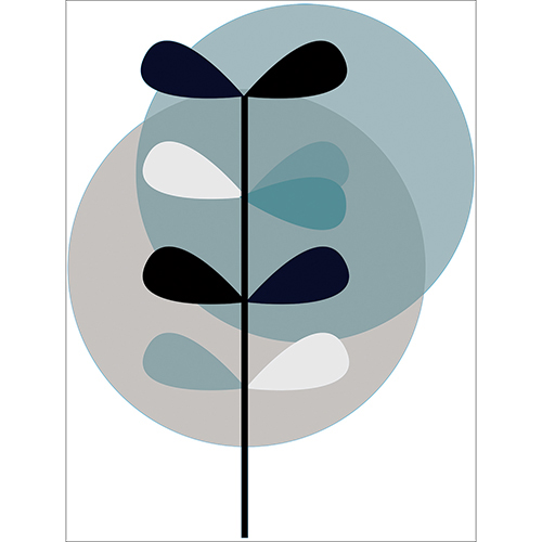 Sticker autocollant déco moderne avec ronds bleu et gris
