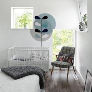 Adhésif ronds bleu et gris moderne pour déco de chambre de bébé