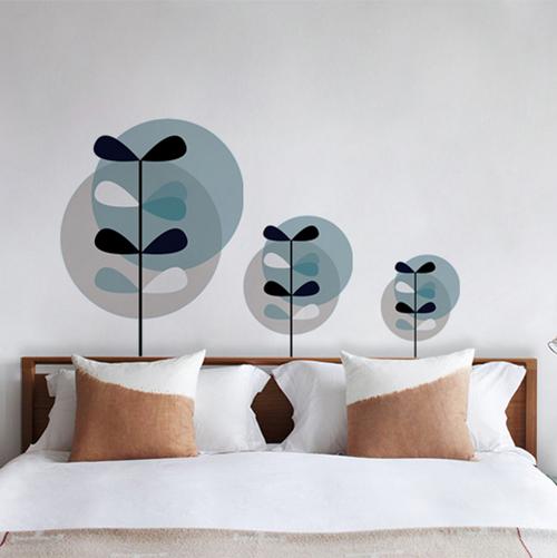 Sticker adhésif décoration de ronds bleu et gris pour mur blanc de chambre
