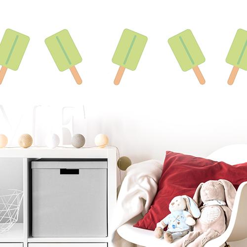 sticker déco glace citron vert au dessus d'un espace enfant