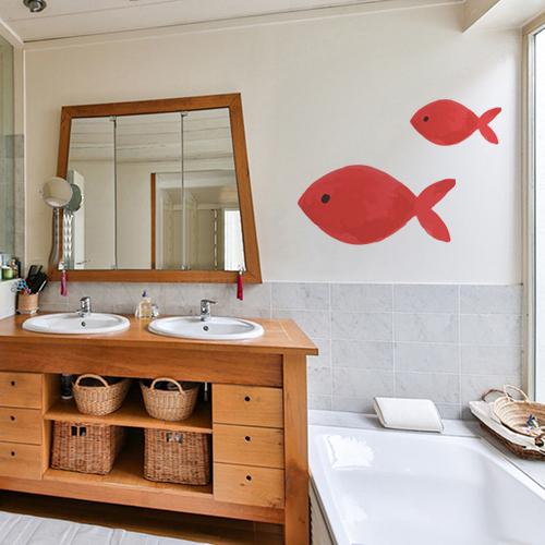 Sticker adhésif pour déco de salle de bain poisson rouge