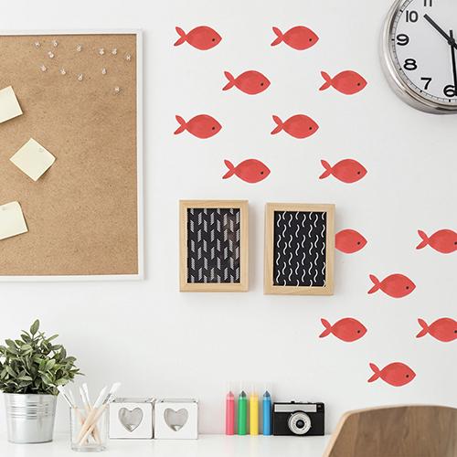 Adhésif poisson rouge pour décoration de bureau