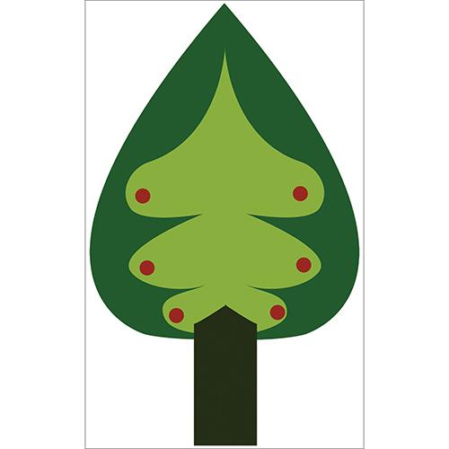 Sticker adhésif arbre vert sapin pour décoration de mur de maison