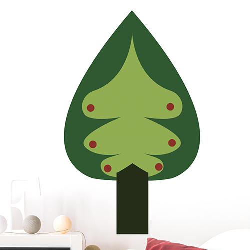 Adhésif déco arbre vert sapin pour déco de mur blanc