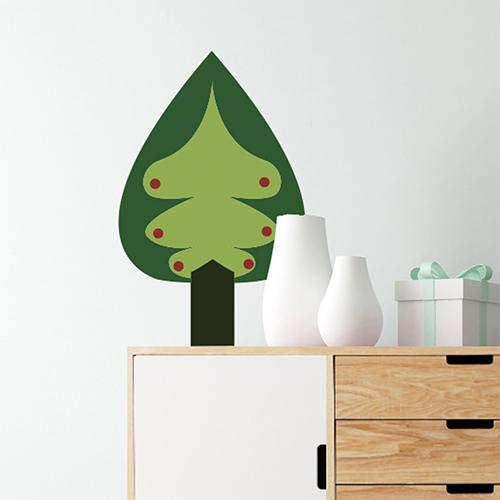 Sticker autocollant pour déco de mur blanc de chambre arbre sapin vert
