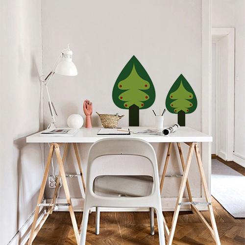 Sticker adhésif arbre sapin vert pour décoration de mur dans un bureau