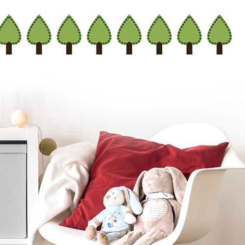 Sticker adhésif décoration sapin vert pour mur de chambre d'enfant