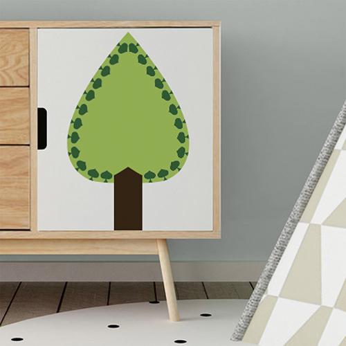 Autocollant déco sapin vert pour meuble de chambre d'enfant