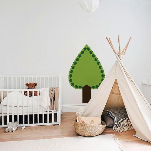 Adhésif sticker arbre sapin vert pour déco de mur blanc de chambre d'enfant