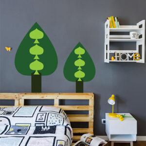 Autocollant décoratif pour déco de chambre d'adulte sapin vert sur mur gris foncé