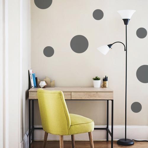 Sticker autocollant pour mur beige rond gris foncé pour déco de bureau