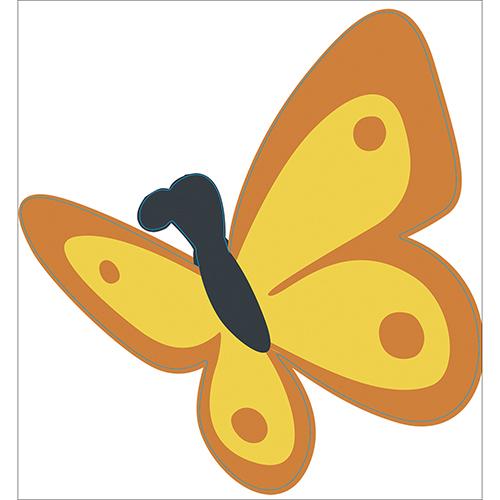 Sticker adhésif papillon jaune et orange pour décoration de mur de maison