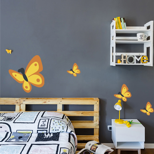Adhésif décoratif pour mur gris foncé de chambre motif papillon jaune et orange