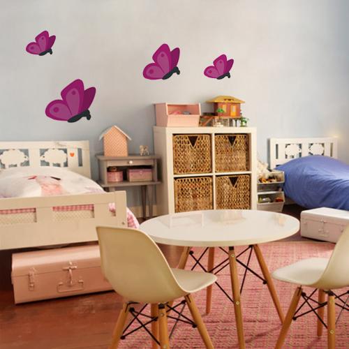 Sticker adhésif décoration papillons rose pour chambre d'enfants
