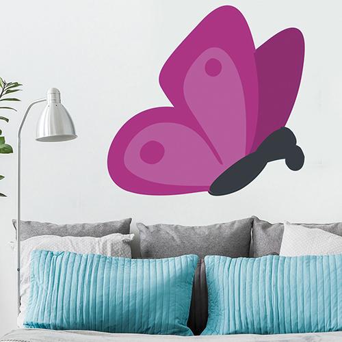 Autocollant papillon rose pour décoration de mur de salon