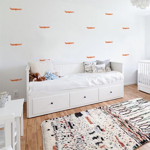 Sticker autocollant croco orange pour déco chambre d'enfant