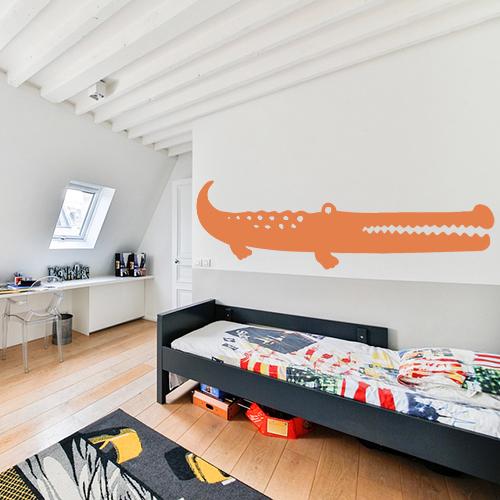 Adhésif décoration chambre d'enfant grand crocodile orange