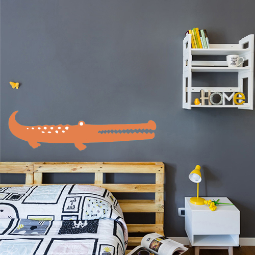 Autocollant sticker décoratif crocodile orange pour déco mur gris foncé chambre d'ado
