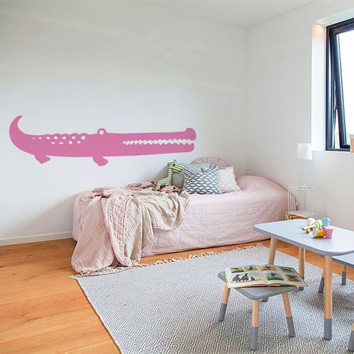 Sticker adhésif pour chambre d'enfant grand crocodile rose pour déco