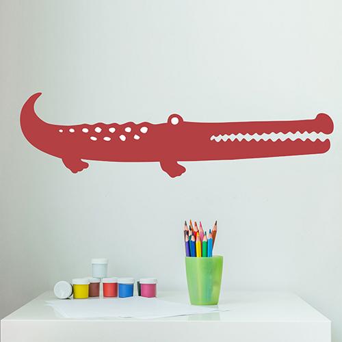 Sticker adhésif déco pour mur blanc de bureau motif crocodile rouge