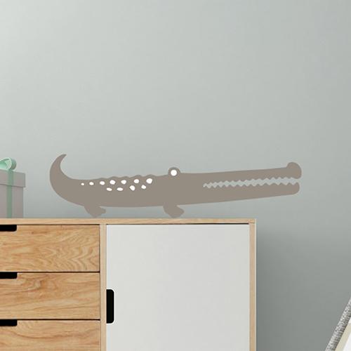 Sticker autcollant déco taupe pour mur gris motif crocodile